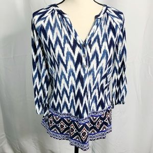 Lucky brand blue cream zigzag blouse BoHo M